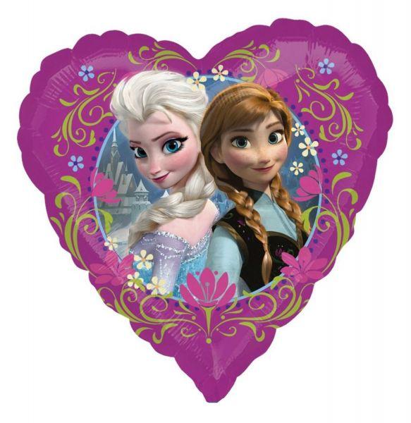 AMSCAN 29842 - Folienballon - Disney Frozen, Anna & Elsa Herz, 43cm
