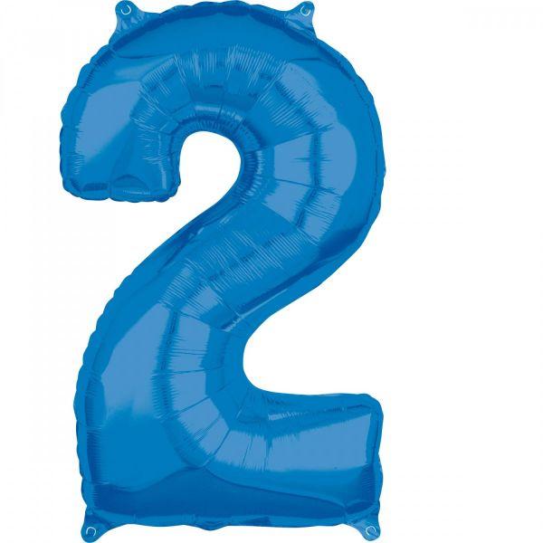 AMSCAN 36627 - Folienballon - Zahl 2, blau, 66 cm
