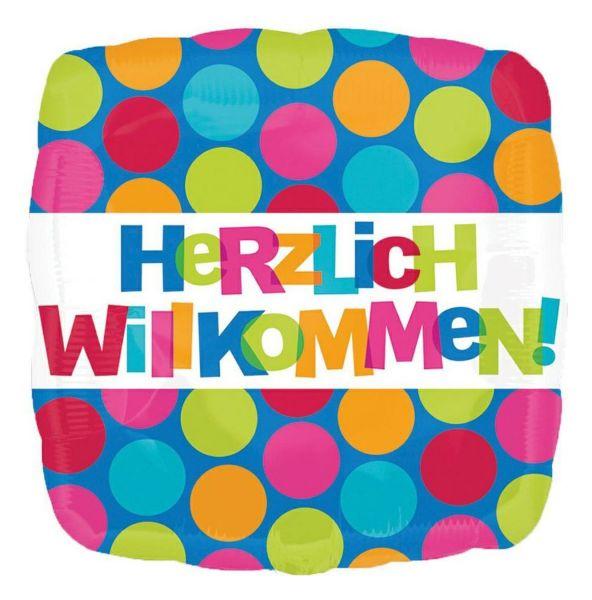 ANAGRAM 25768 - Folienballon - Herzlich Willkommen, Quadrat, 43cm