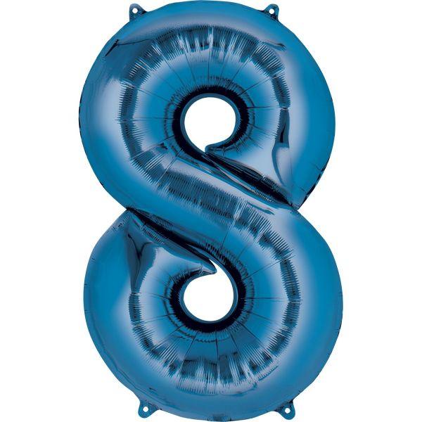 AMSCAN 28294 - Folienballon - Zahl 8, blau, 88 cm