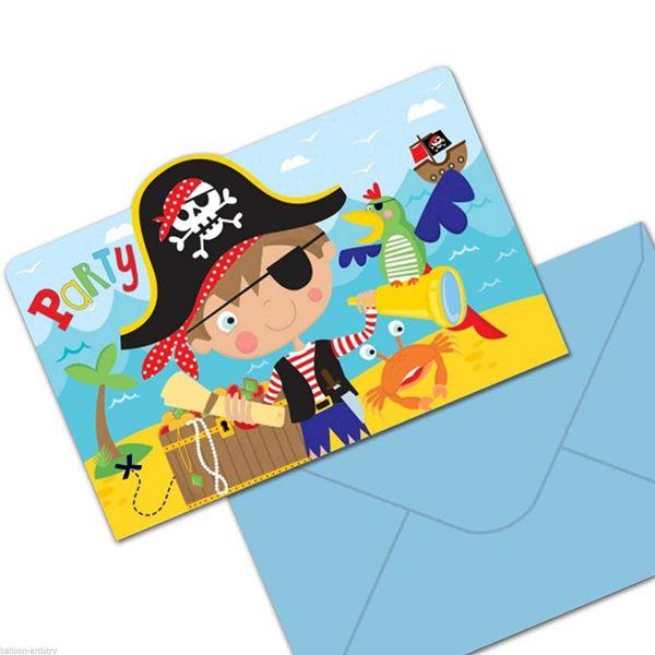 AMSCAN 491622 - Geburtstag & Party - Einladungskarten Piraten, 8 Stk.