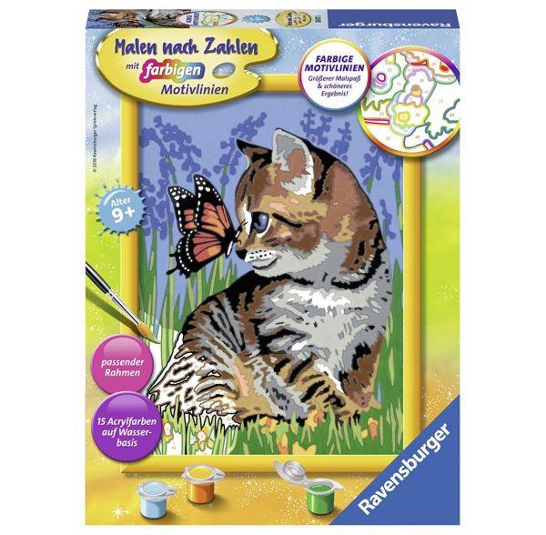 RAVENSBURGER 28651 - Malen nach Zahlen - Katze mit Schmetterling