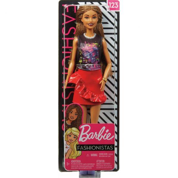 MATTEL FXL56 - Barbie - Fashionistas Puppe im rockigen Outfit mit Rasterlocken