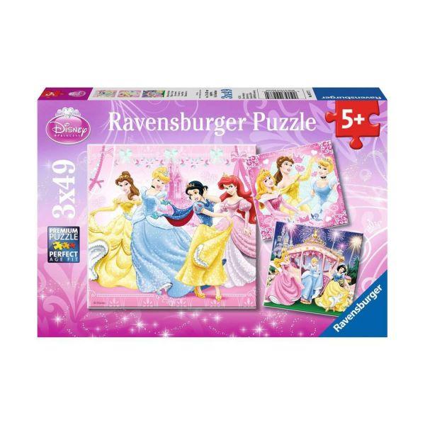 RAVENSBURGER 09277 - Puzzle - Schneewittchen, Cinderella, Belle & Arielle, 3x49 Teile