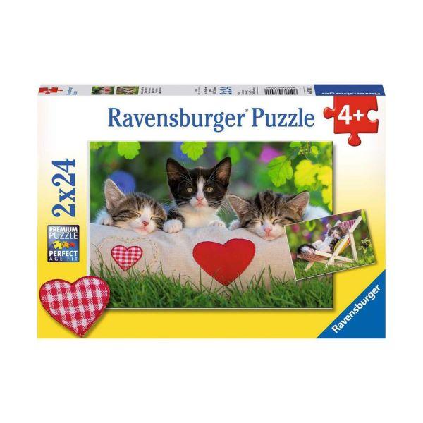 RAVENSBURGER 07801 - Puzzle - Verschlafene Kätzchen, 2x24 Teile