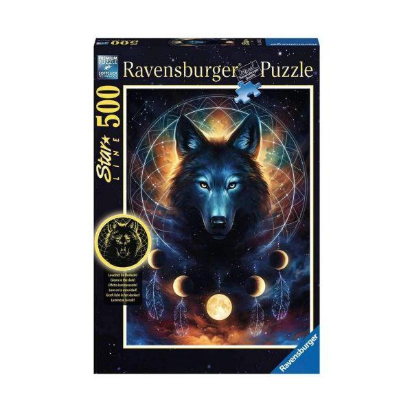 RAVENSBURGER 13970 - Puzzle - Leuchtender Wolf, 500 Teile