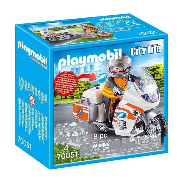 PLAYMOBIL 70051 - City Life Rettung - Notarzt-Motorrad mit Blinklicht