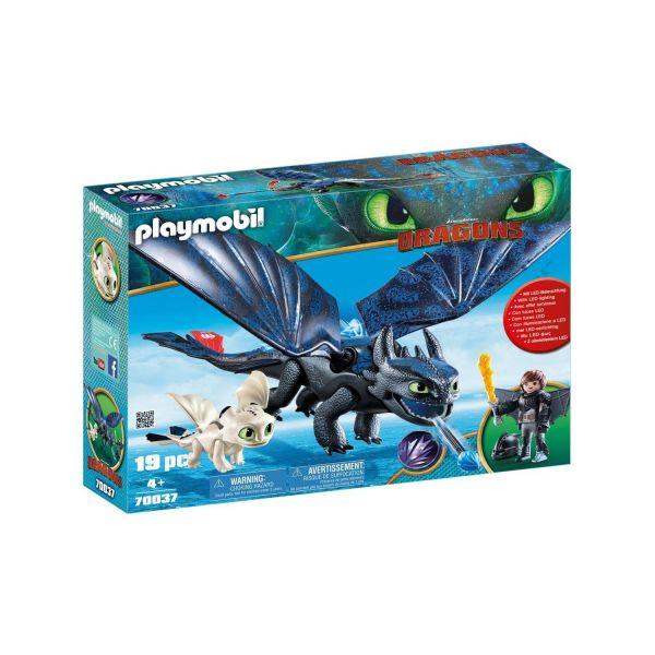 PLAYMOBIL 70037 - Dragons - Hicks und Ohnezahn mit Babydrachen