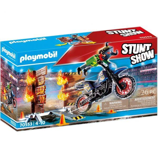 PLAYMOBIL 70553 - Stuntshow - Motorrad mit Feuerwand