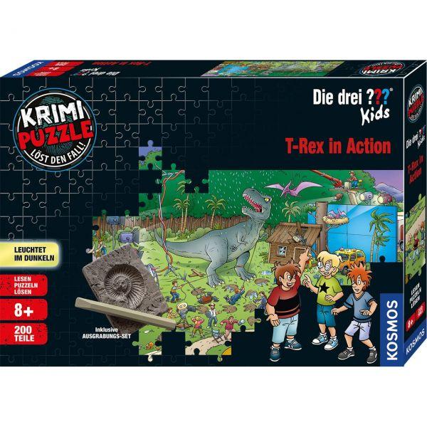 KOSMOS 680657 - Krimi-Puzzle - Die drei ??? Kids - T-Rex in Action, 200 Teile