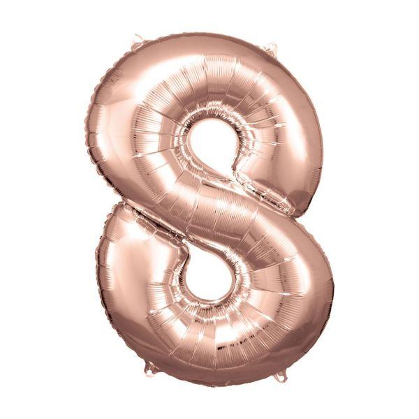 RM 9906283 - Folienballon SuperShape - Zahl 8, rosé gold, 55x83cm
