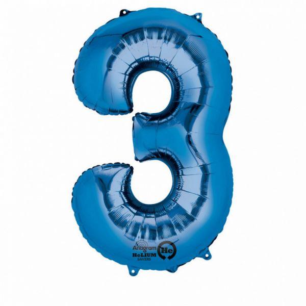 AMSCAN 28279 - Folienballon - Zahl 3, blau, 86 cm