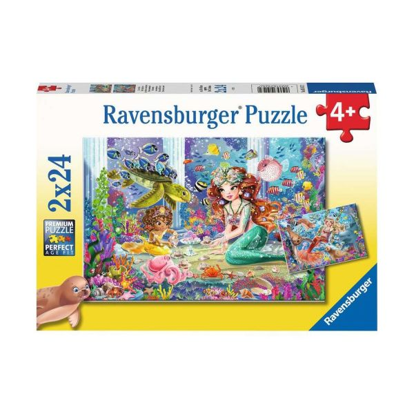 RAVENSBURGER 05147 - Puzzle - Zauberhafte Meerjungfrauen, 2x24 Teile