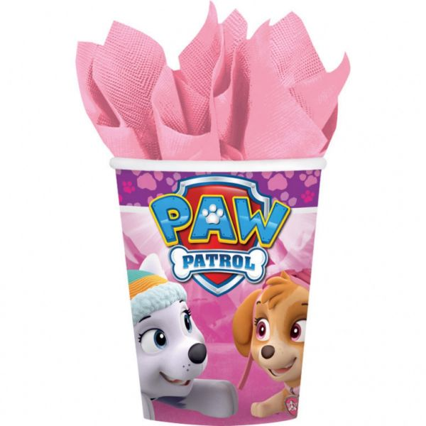 AMSCAN 581665 - Geburtstag & Party - Becher Paw Patrol Pink USA, 8 Stk., 266 ml
