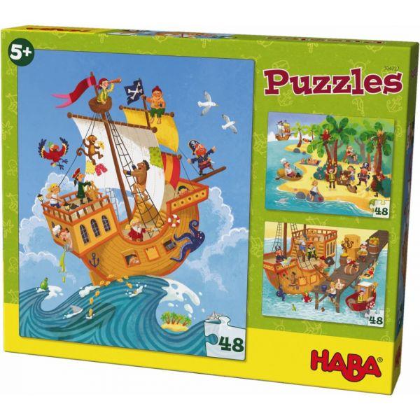 HABA 304222 - Puzzle - Pirat & Co, 48 Teile
