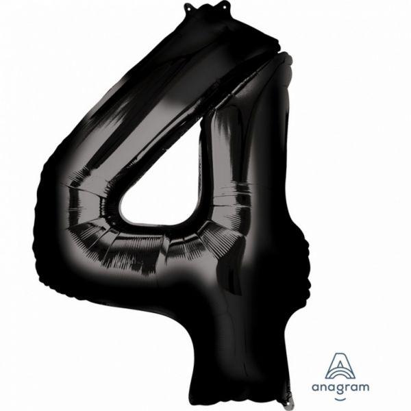 AMSCAN 3014301 - Folienballon - Zahl 4, schwarz, 90cm