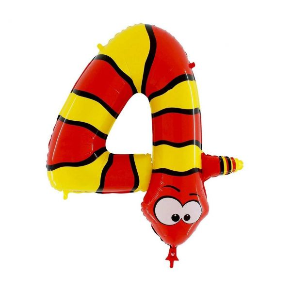 GRRABO 44-0WE-P - SuperShape - Folienballon Riesenzahl 4, Schlange 100cm