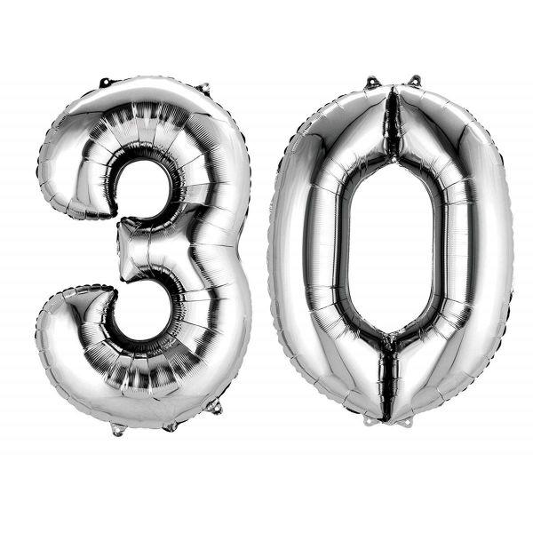AMSCAN 33870 - Folienballon - Zahl 30, silber, 90cm