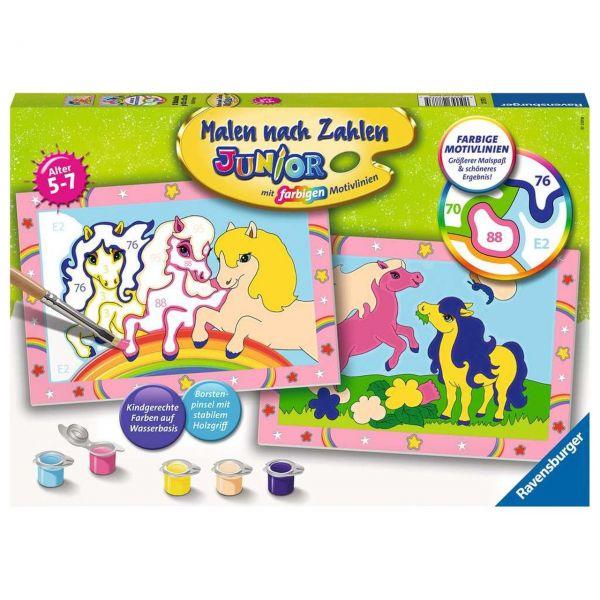 RAVENSBURGER 27773 - Malen nach Zahlen - Junior, Süße Ponys