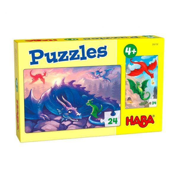 HABA 306159 - Puzzle - Drachen, 2x24 Teile