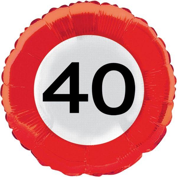 FOLAT 28540 - Geburtstag & Party - 40 Jahre Verkehrsschild Folienballon, 45 cm