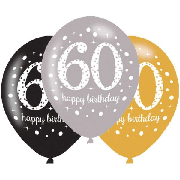 AMSCAN 701100 - Luftballons - Happy Birthday, 60. Geburtstag, 27,5cm, 6 Stk