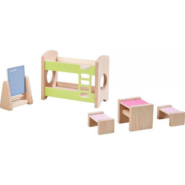 HABA 303836 - Little Friends - Puppenhaus Möbel, Kinderzimmer für Geschwister