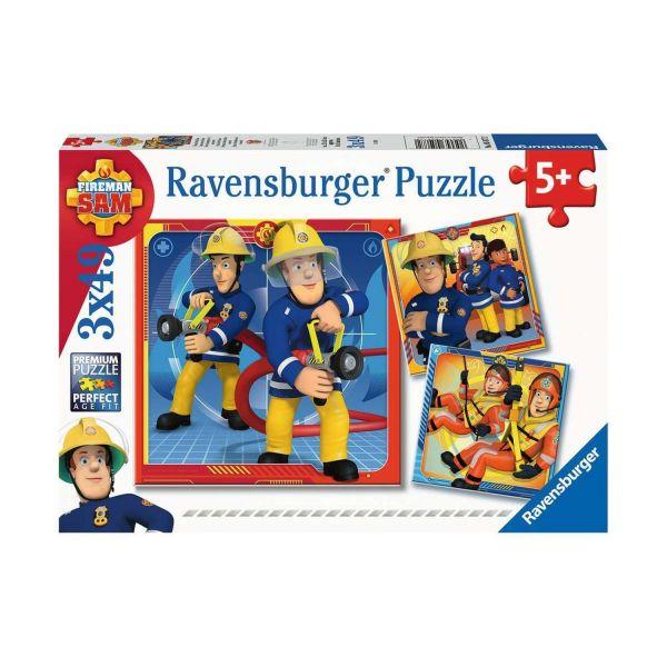 RAVENSBURGER 05077 - Puzzle - Feuerwehrmann Sam - Unser Held Sam, 3x49 Teile