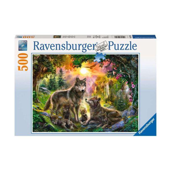 RAVENSBURGER 14745 - Puzzle - Wolfsfamilie im Sonnenschein, 500 Teile
