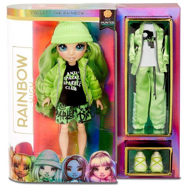 MGA 569664E7C - RAINBOW HIGH - Jade Hunter – Grüne Mode-Puppe mit 2 Outfits