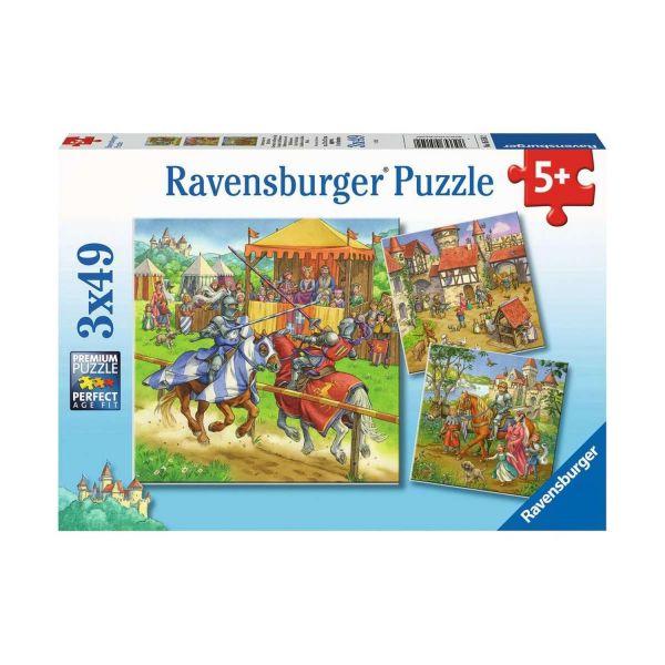 RAVENSBURGER 05150 - Puzzle - Ritterturnier im Mittelalter, 3x49 Teile