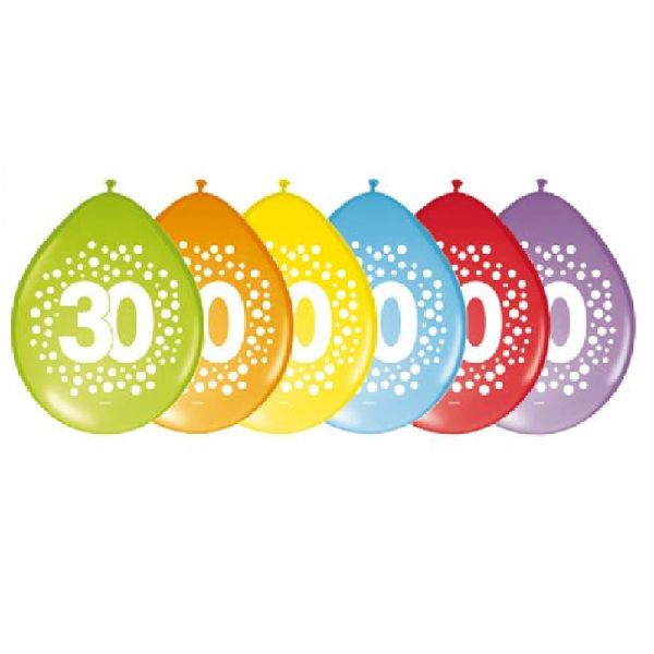 FOLAT 64230 - Geburtstag & Party - Luftballons Regenbogen, 30 Jahre, 30 cm