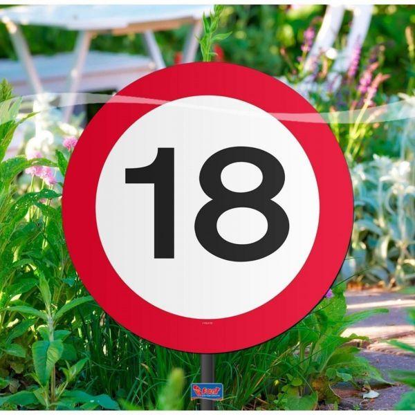 FOLAT 05017 - Geburtstag & Party - 18 Jahre Verkehrsschild Gartenschild, 26 cm