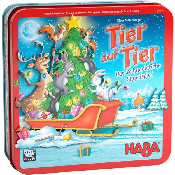 HABA 305525 - Kinderspiel - Tier auf Tier, Das weihnachtliche Stapelspiel