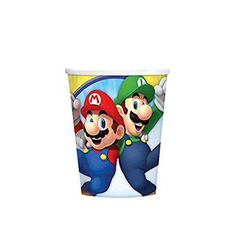 AMSCAN 9901537 - Geburtstag & Party - Super Mario Pappbecher, 8 Stück
