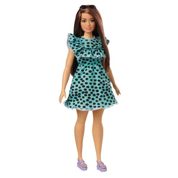 MATTEL GHW63 - Barbie - Fashionistas Puppe (brünett) mit Punktekleid