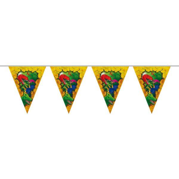 FOLAT 61857 - Geburtstag & Party - Dino Dinosaurier Wimpelkette Girlande 6 Meter
