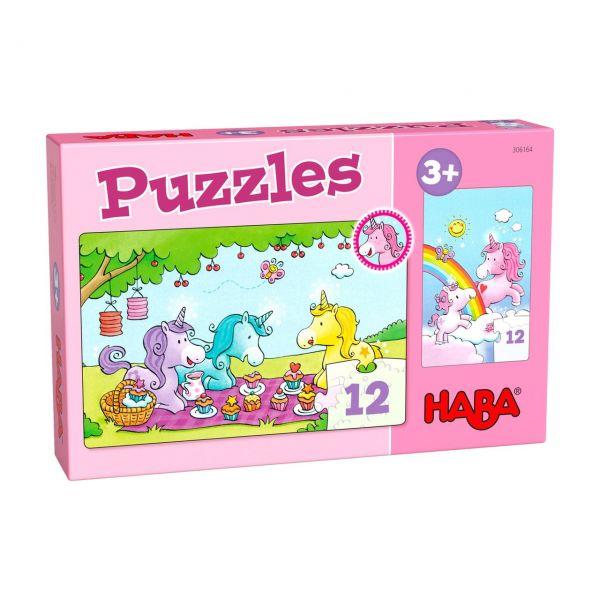 HABA 306164 - Puzzle - Einhorn Glitzerglück – Rosalie & Friends, 2x12 Teile