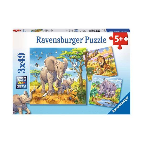 RAVENSBURGER 08003 - Puzzle - Wilde Giganten, 3x49 Teile