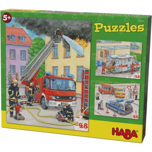 HABA 304218 - Puzzle - Einsatzfahrzeuge, 48 Teile