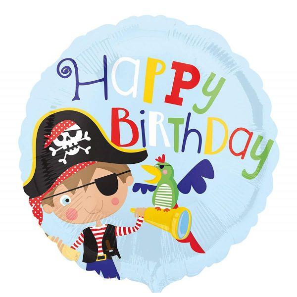 AMSCAN 33780 - Folienballon - Pirat Happy Birthday, 43 cm