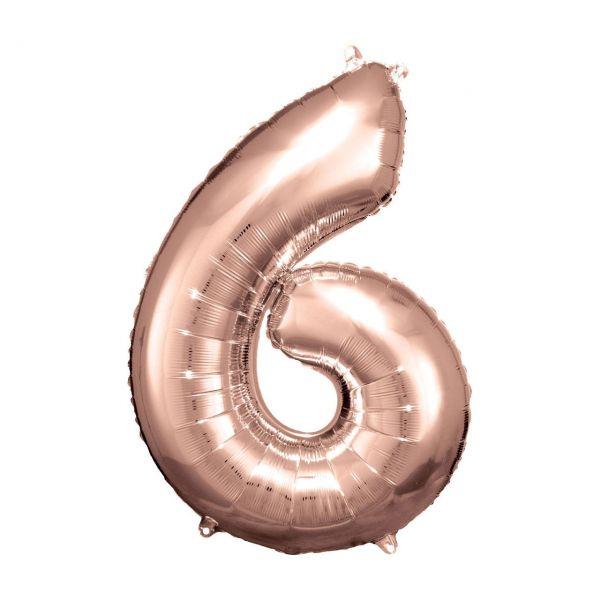 RM 9906281 - Folienballon SuperShape - Zahl 6, rosé gold, 58x86cm