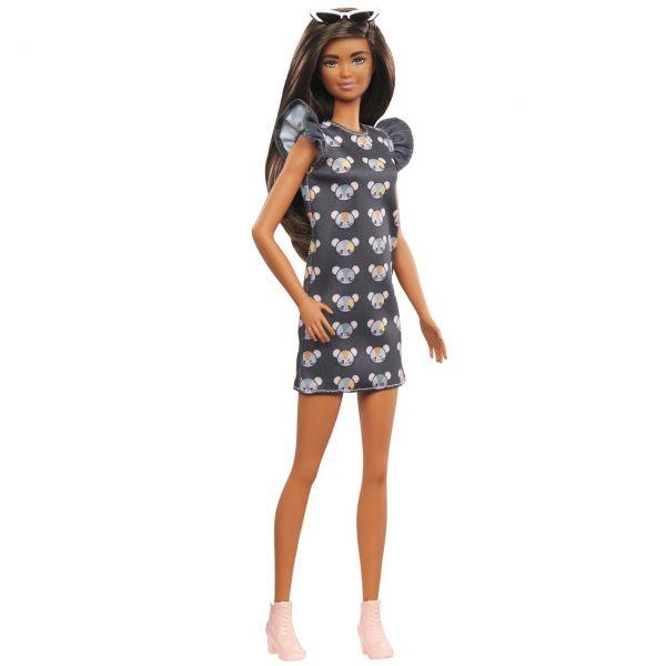 MATTEL GHW54 - Barbie - Fashionistas Puppe (brünett) mit Mäusekleid