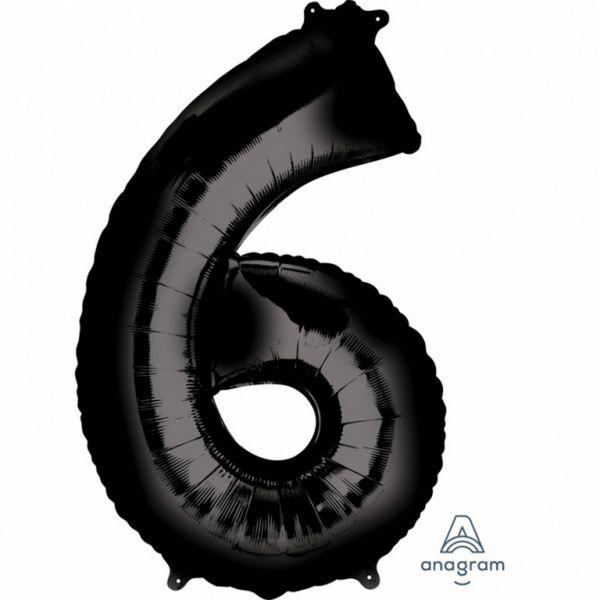 AMSCAN 3014501 - Folienballon - Zahl 6, schwarz, 90cm