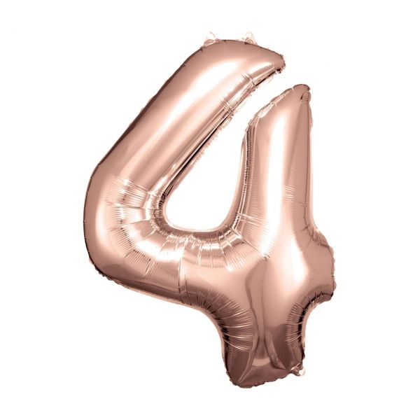 RM 9906279 - Folienballon SuperShape - Zahl 4, rosé gold, 66x86cm