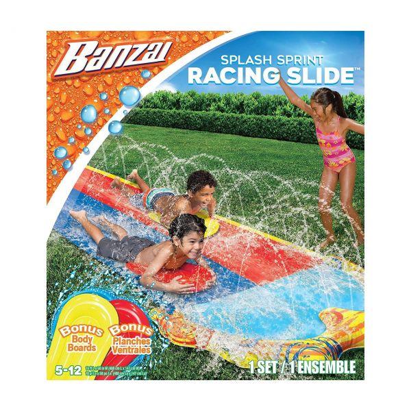 BANZAI 30375 - Wasserspielzeug - Doppel-Wasserrutsche mit 2 Bodyboards, 487cm