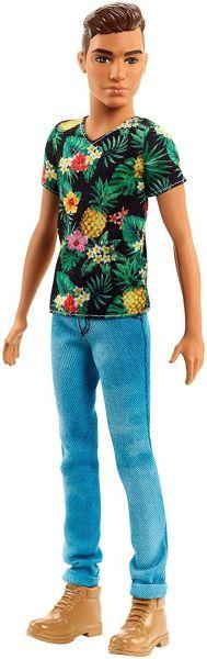 MATTEL FJF73 - Fashionistas - Ken, schwarzes Shirt mit Ananas-Print