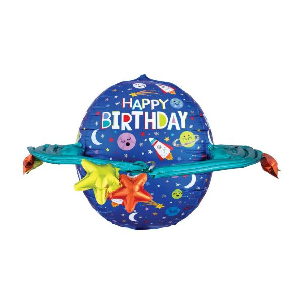 AMSCAN 4037501 - UltraShape - Happy Birthday, Bunte Galaxie, 73x50cm