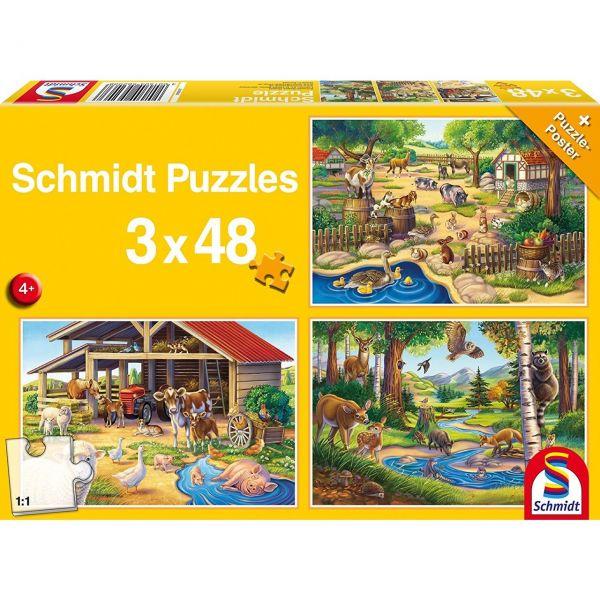 SCHMIDT 56203 - Puzzle - Alle meine Lieblingstiere, 3 x 48 Teile
