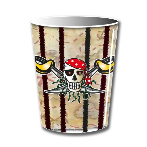 FOLAT 07641 - Geburtstag & Party - Piraten Papp-Becher 255 ml, 8 Stk.